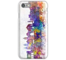 Rhodes skyline in watercolor background iPhone Case/Skin