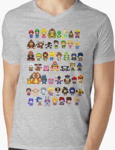 Super Smash Bros Wii U - Pixel Art Characters Mens V-Neck T-Shirt