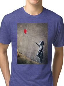 Banksy's Girl with a Red Balloon II Tri-blend T-Shirt