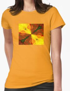 Bold Red, Green and Gold Abstract Kaleidoscope Womens Fitted T-Shirt