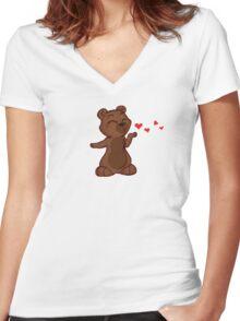 My Better Half - Bear (left) Women's Fitted V-Neck T-Shirt