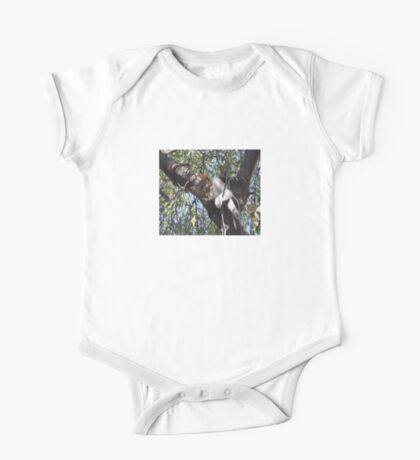 Bi-Color Tabby Cat In Tree 4 One Piece - Short Sleeve