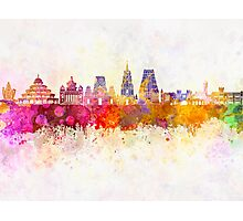 Bangalore skyline in watercolor background Photographic Print