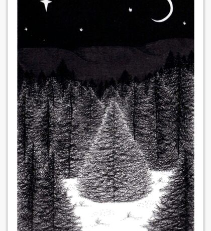 Pen and Ink Forest Scene Sticker