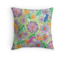 Birds In Paradise (Floral) Throw Pillow