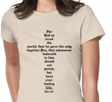 JOHN 3:16 cross Womens Fitted T-Shirt