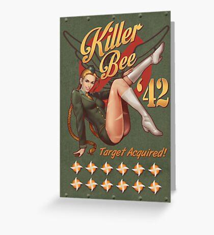 Killer Bee Pin Up Greeting Card