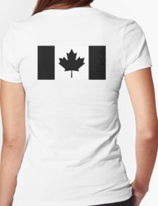 """CANADA, CANADIAN, Canadian Flag, National Flag of Canada, Funeral, Mourning,  """"A Mari Usque Ad Mare"""" Pure & Simple in BLACK,  Womens Fitted T-Shirt"""