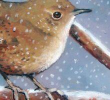 Bird in Snow, Little Wren, Original Oil Pastel Wildlife Art Sticker