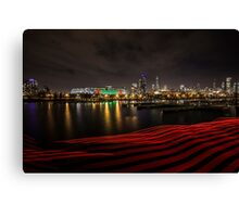 Chicago Skyline at night with red ribbon of light  Canvas Print