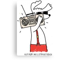 hipster music dog Canvas Print