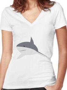 Minimal shark Women's Fitted V-Neck T-Shirt