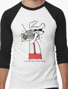 hipster music dog Men's Baseball ¾ T-Shirt