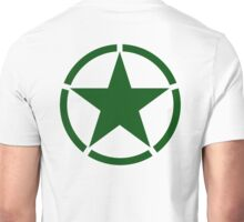 ARMY, Army Star & Circle, Roundel, Jeep, War, WWII, America, American, USA, in GREEN Unisex T-Shirt