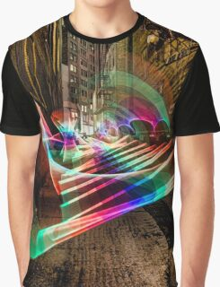 Nightime alley scene with pixel stick light painting Graphic T-Shirt