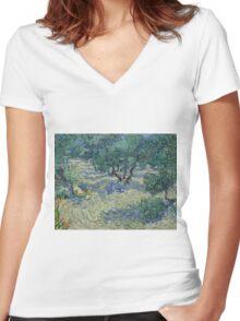 Vincent Van Gogh - Olive Orchard Women's Fitted V-Neck T-Shirt