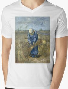 Vincent Van Gogh - Peasant woman binding sheaves, after Millet Mens V-Neck T-Shirt
