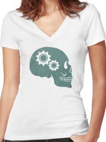 Skull Gears Turnin' Women's Fitted V-Neck T-Shirt