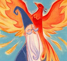Dumbledore And Fawkes by rosesandvervain