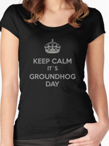 Keep Calm it´s Groundhog Day Women's Fitted Scoop T-Shirt