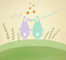 Cute Bunnies - I Love You ... I Love You More by Cristina Bianco Design
