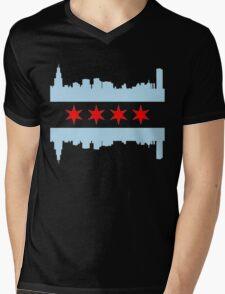 Chicago Flag Skyline Mens V-Neck T-Shirt