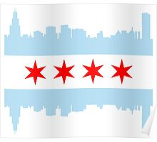 Chicago Flag Skyline Poster