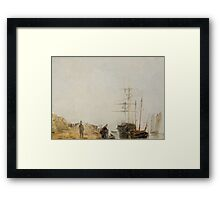 Theodore Gudin, Sailing Ships by a Jetty Framed Print