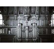 Beautiful organ view inside baroque church, Alsace, France Photographic Print