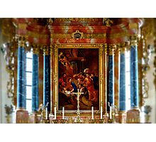 Tilt-shift view of church indoor interior, baroque style Photographic Print