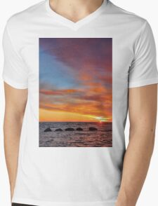 Brora Sunrise with The Five Sisters  Mens V-Neck T-Shirt