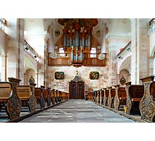 Tilt-shift perspective view inside church, benches and organ Photographic Print