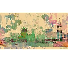 Westminster city, London, Watercolour Photographic Print