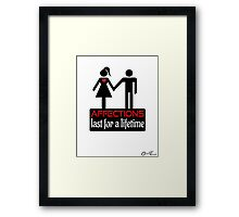 Couples - Affections in Black on White Framed Print