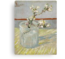 Vincent Van Gogh - Sprig of flowering almond in a glass, March 1888 - 1888 , Still Life,  Impressionism Canvas Print