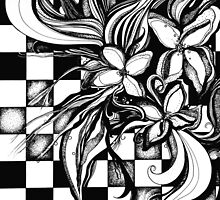 Pen and Ink Flowers on Checkerboard by Danielle Scott