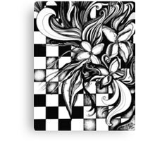 Pen and Ink Flowers on Checkerboard Canvas Print