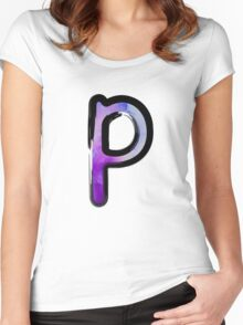 Watercolor - P - purple Women's Fitted Scoop T-Shirt