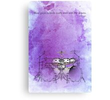 Jazz quote and purple drums Canvas Print