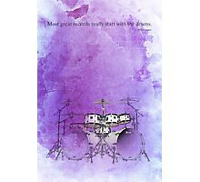 Jazz quote and purple drums Photographic Print