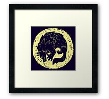 Woodcut Werewolf - Yellow Moon Framed Print