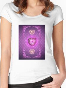PURPLE PURPLE PURPLE HEARTS Women's Fitted Scoop T-Shirt