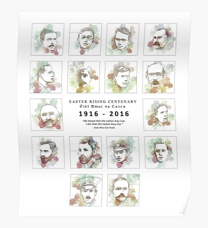 1916 commemorative print: 16 leaders Poster