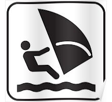 Black and White Sailsurfing Windsurfing Icon Silhouette Poster