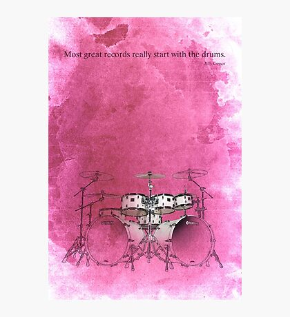 Rock drums & quote for musicians Photographic Print