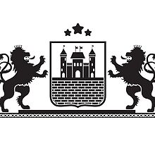 Coat of arms - shield with fortress, brick wall and two standing lions at sides on plinth by Marta Jonina