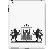 Coat of arms - shield with fortress, brick wall and two standing lions at sides on plinth iPad Case/Skin