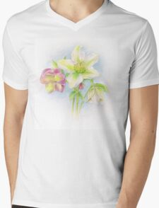 First signs of spring hellebores watercolor Mens V-Neck T-Shirt