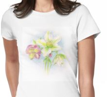 First signs of spring hellebores watercolor Womens Fitted T-Shirt