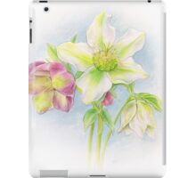 First signs of spring hellebores watercolor iPad Case/Skin